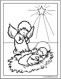 christmas angel coloring pageschristmas angel coloring pages  kneeling angel  baby jesus  and star