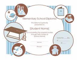 Elementary School Diploma Certificate Template Free Certificate