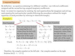 compound equations by definition an equation containing two diffe variables one with real coefficients