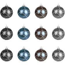 12 Stück Weihnachtskugeln ø6cm 4 Sorten Schwarz Blau