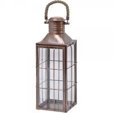 libra 337503 geraffa large antique copper lantern with rope handle at love4lighting