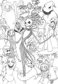 Nightmare Before Christmas Coloring Pages All Characters Coloringstar