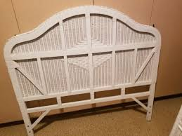 White wicker bedroom set, armoire, night stand, bed / headboard for ...