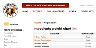 King Arthur Flour Ingredient Chart