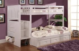 twin over full stair stepper bed with 3 drawers in white finish children bunk beds safety