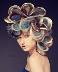 Occasion Hair Style updo with loops of multicolored hair blonde blue and dark hues 1741 by wearticles.com