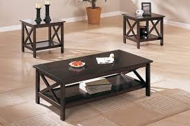 3pcs dark brown coffee table set with shelf by poundex f3069 furniture of america drake espresso 147