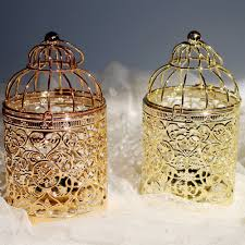 Tea Light Birdcage Us 4 98 30 Off 1pc Europe Style Birdcage Tea Light Candle Holder Metal Hanging Lantern Rose Gold Creative Romantic Birthday Home Decoration In