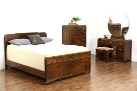 I Art Deco 1940 Vintage 4 Pc Walnut U0026 Burl Bedroom Set Full Size Bed  Vanity