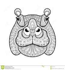 Small Picture Hand Drawn Tribal Hippopotamus Head Animal Totem Stock Vector