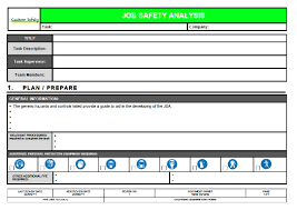 job safety analysis template job safety analysis template
