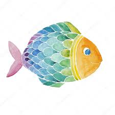 rainbow fish watercolor painted stock photo