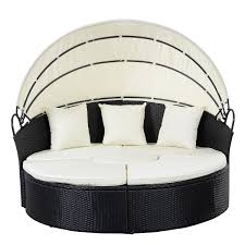 Round Outdoor Bed Costway Daybed Patio Sofa Furniture Round Retractable Canopy