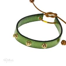 green studded steampunk bracelet leather band by popnicute jewelry uni leather bands rock chic