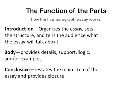 essay writing and how to teach it david murphy the five  3 the function of the parts how