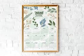 2020 Year At A Glance Calendar Blue Green