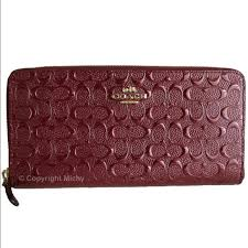 Coach oxblood Signature print wallet