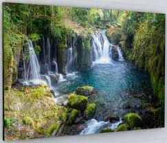stunning woodland waterfall canvas wall