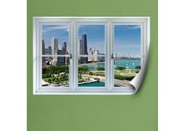 chicago skyline instant window fathead wall decal