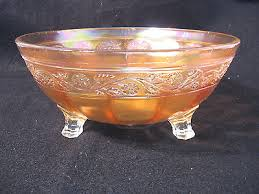 vintage marigold iridescent carnival 3 footed glass bowl