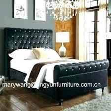 High Platform Bed Frame Headboard Soft Sleigh With Rise ...
