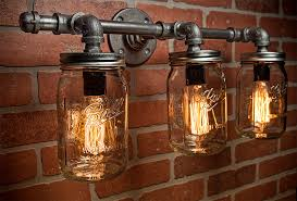 steampunk lighting. Mason Jar Light Fixture - Industrial -Light Rustic Vanity Wall Sconce Steampunk FREE SHIPPING Lighting
