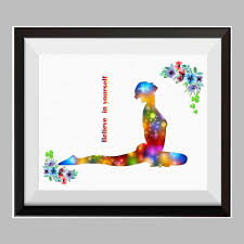 Yoga Poses Poster Yoga Meditation Watercolor Canvas Print Inspirational Quotes C066