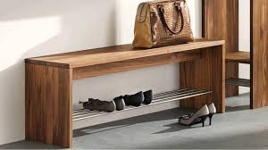 furniture: Simple Styled Diy Shoe Bench Made Of Oak Materials And Designed  With Long Size