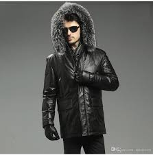 2018 2016 new arrival men s genuine sheepskin leather goose down jackets with detachable real fox fur hood black long coats outerwear from minicon