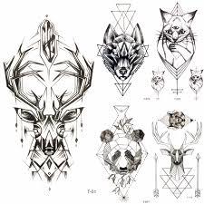 прохладный геометрия лось цепи переноса воды татуировки рога