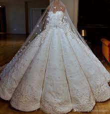 Beaded Designer Wedding Gowns Dubai Arabic Luxury Ball Gown Designer Wedding Dresses Lace Beaded Appliques Sweetheart Puffy Long Bridal Gowns Formal Robe De Mariage Wedding Dreses
