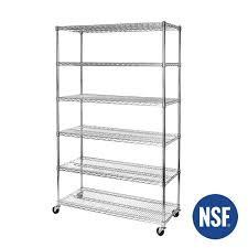 ultradurable commercial grade 6 tier steel wire shelving with wheels 48wx18dx72h