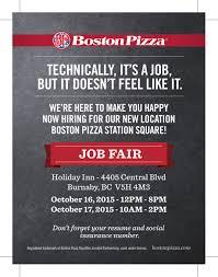 boston pizza station square job fair  bp station square job fair poster