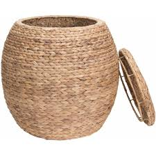 household essentials large round water hyacinth wicker rage baskets basket with lid glass vase small jars lids bulk orative vases extra makeup monthly baby