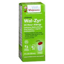 walgreens wal zyr children s 24 hour allergy liquid cherry4 oz