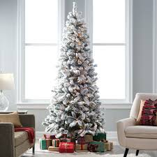 unlit flocked christmas tree 7 foot ft classic slim lit s54
