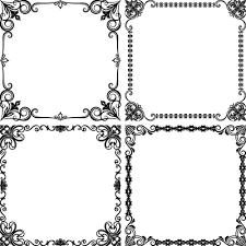 black fl frame retor styles vector