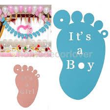 Sweet Its A Boy Girl Hollow Cut Foot Feet Hanging Banner Bunting
