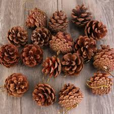 20pcs 4 6cm pine cones pendant with string natural wood tree