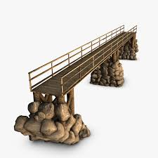 Wooden Bridge Game Fascinating Wood Bridge Stone Supports 32D Model FlatPyramid