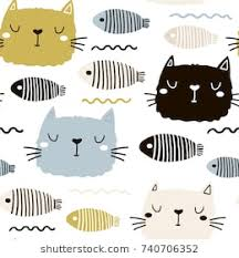 cute cat pattern wallpaper. Modren Cat Seamless Childish Pattern With Cute Cat Face And Fish Creative Nursery  Background Perfect For Throughout Cute Cat Pattern Wallpaper T