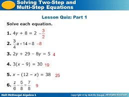 holt mcdougal algebra 1 solving two step and multi step equations lesson quiz