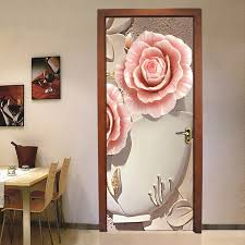bedroom door decoration. PVC Waterproof Door Sticker Wall Painting Living Room Bedroom Decoration 3D Flower Mural Wallpaper Self