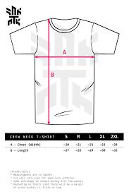 Round Neck T Shirt Size Chart Size Chart Crew Neck T Shirt Snk Atk Design Lab