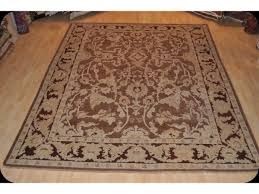 genuine handmade 9 x 12 eggplant brown color persian knotted rug