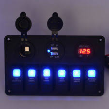 boat electrical and lighting products car marine boat 6 gang waterproof circuit blue led rocker switch panel breaker