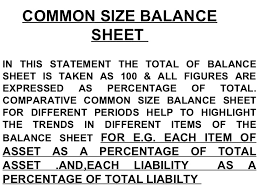 definitions of balance sheet comparitive and common size
