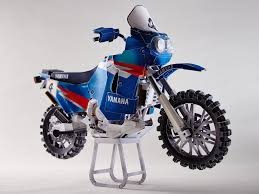 Motorcycle Display Stand Yamaha Papercraft Display XT100R on stand for the 100 Dakar Rally 80
