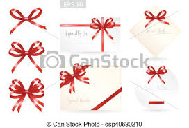 gift card formats set of ribbon tied bows in vector format for gift card greeting card or thank you card