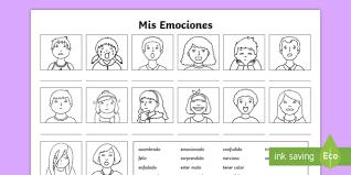 Spanish Feelings Chart My Emotions Worksheet Worksheet Spanish Spanish Ks2